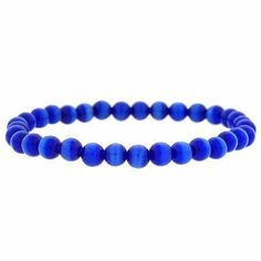 Simulated Dark Blue Cats Eye Stone 6mm Bead Beaded Stretch Bracelet SilverSpeck.com. $6.99