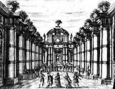 Mollier/Benserade, Ballet Royal de la Nuit, 1653: 3. part, Entrée 1 - La Lune, dans son char, fait le récit, et est accompagnée des Étoiles, qui se retirent, et la laissent se promenant et admirant les beautés d'Endimion (duc de Joyeuse) (Stage design G. Torelli)