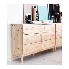IKEA - TARVA, Byrå med 6 lådor, , Ditt hem ska självklart vara en säker plats för hela familjen. Därför medföljer ett väggbeslag som gör att du kan fästa byrån i väggen.Gjord av massivt trä som är ett slitstarkt och levande naturmaterial.Om du oljar, vaxar, lackar eller laserar den massiva, obehandlade träytan blir den tåligare och mer lättskött.Lådan som är lätt att öppna och stänga har utdragsstopp.Vill du organisera insidan kan du komplettera med lådorna SKUBB set om 6.