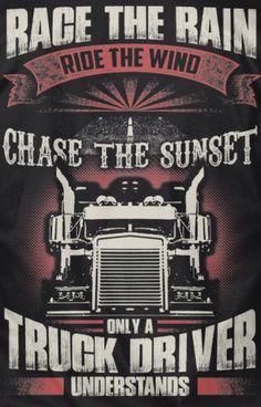 Race the rain. Big Rig Trucks, Trucks Only, Semi Trucks, Truck Memes, Funny Car Memes, Trucker Tattoo, Truckers Girlfriend, Trucker Quotes, Truck Paint