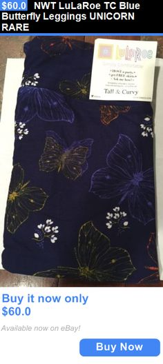 Women Leggings: Nwt Lularoe Tc Blue Butterfly Leggings Unicorn Rare BUY IT NOW ONLY: $60.0