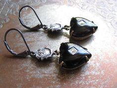 Black Heart Earrings / Vintage Repurposed Jewelry by hollyglimmer