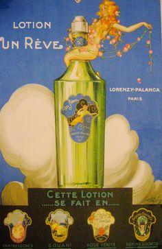 1920s Art Déco vintage lotion advertisement, Lotion Un Rêve