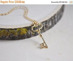 SALE Key Necklace Gold Key Necklace Key to your by FawningInLove