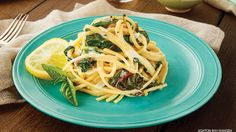 Avgolemono Linguine with Chard Ribbons  Most people know avgolemono as a lemony Greek chicken-and-rice soup that's thickened with egg yolks. In this vegetarian version, the lemon–egg yolk combo is used to make a creamy, tangy carbonara sauce for linguine and sliced Swiss chard.