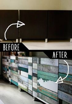DIY Furniture Makeovers - Refurbished Furniture and Cool Painted Furniture Ideas for Thrift Store Furniture Makeover Projects | Coffee Tables, Dressers and Bedroom Decor, Kitchen |  Cabinet Wallpaper Treatment  |  http://diyjoy.com/diy-furniture-makeovers #refurbishedfurniture