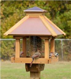 Cedar Gazebo Bird Feeder with Copper Top Roof