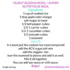 SUSHI BUDDHA BOWL -EASY RECIPE   Check out the #video on my #youtube channel, link in my Bio. . . . . #healthy #meatlessmonday #meatless #healthydiet #healthychoices #mealprep #healthylifestyle #weightloss #food #delicious #yummy #recipe #recipes #vegetarian #new #fblogger #easy...