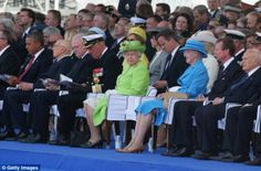 Attendance: World leaders - including President Obama, left, The Queen, centre, and David ...