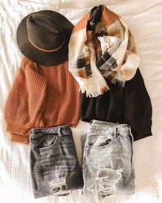 c7562834840 chunky knit sweater with distressed jeans a scarf and a black hat. Visit  Daily Dress