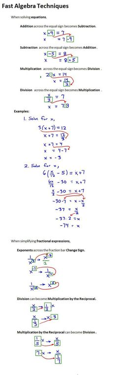Fast Algebra Techniques More on Mathematics and Le .- Fast Algebra Techniques Mehr zur Mathematik und Le… – Fast Algebra Techniques More on Mathematics and Le … – - College Math, College School, Maths Algebra, Calculus, Algebra Help, Math Math, Multiplication, Fractions, Math Formulas