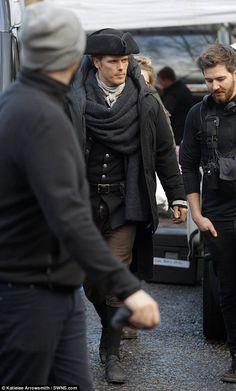 Sam Heughan (Jamie Fraser) filming Season 3 of Outlander in Scotland