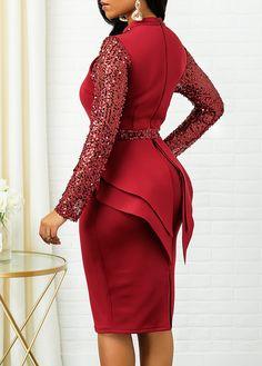Ruffle Trim Sequin Detail Back Zipper Sheath Dress – ooklyy Nigerian Dress Styles, Business Casual Dresses, Business Attire, Ruffle Dress, Ruffle Trim, Latest African Fashion Dresses, Necklines For Dresses, Classy Dress, African Dress