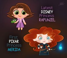 Well it's actually Anna not Rapunzel, but I never really took the time to think about how there is only ONE Pixar Princess. (and doesn't Pixar count as Disney? Disney Pixar, Princesa Rapunzel Disney, Chibi Disney, Walt Disney Characters, Disney Cast, Disney And Dreamworks, Disney Cartoons, Disney Magic, Disney Movies