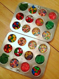 simple idea that i probably wouldn't think of: use a muffin tin for candies when making gingerbread houses!
