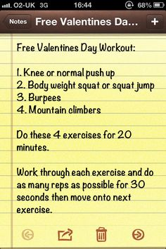 Free valentines workout - I thought I'd give out a valentines day present for everyone in the form of a workout.  It's not the most traditional gift I'll admit, but it's better than a slap on the face.
