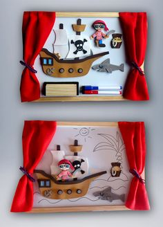"""Cuentacuentos Nena leda, modelo Pirata. Pizarra blanca magnética de 30x 40 cm. Imanes realizados en goma eva con detalles pintados en acrílico y barnizados. El muñeco puede subirse al barco y a la cofa. """"Falso"""" telón en fieltro. Para inventar o contar cuentos, moviendo los personajes y añadiendo elementos con los rotuladores. Se puede realizar con muchas más temáticas, princesas, astronautas, granjeros, magos... Personalizable. A partir de 4 años."""