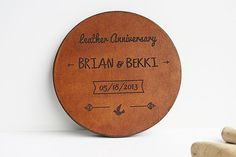 Leather Coasters, Leather Anniversary Gift, 3rd Anniversary, Personalized Coasters Set, Gift for Him, Gift for her, Third Anniversary  These beautiful coasters were specially created for a 3rd anniversary gift.  They can be personalized with names and date.  ░░░ HOW TO PERSONALIZE ░░░ Please leave the engraving details to use in the notes to the seller at the checkout.  ░░░ MEASURES & MATERIAL ░░░ Approx. Measures ~ 3.74 X 3.74 / 9.7 cm X 9.7 cm Material: ~ Hand dyed vegetable tanned leather…