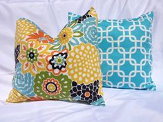 Bright Floral and Aqua Pillow Set by decor8diva on Etsy, $30.00