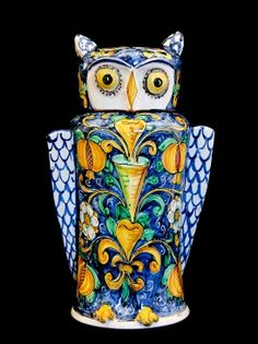 Italian pottery - Touch of Sicily | Calatino blue and yellow Owl