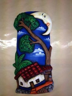 Diy Home Crafts, Clay Crafts, Decor Crafts, Arts And Crafts, Clay Houses, Concrete Crafts, Indian Paintings, Fimo Clay, Mural Art