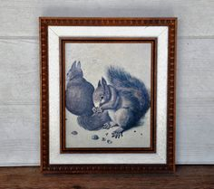 Vintage Framed Lithograph 'Two Squirrels One by FabsAndFaves, $25.00