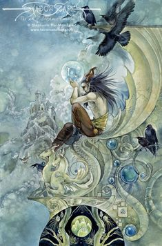 Art Print - Capricorn by Stephanie Pui-Mun Law-Stephanie, Pui-Mun Law, zodiac, star, sign, signs, crow, stone, scupture, blue, sky, orb, satyr,Art print, fine art print, print, archival, giclee, giclée