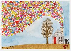 Color and texture inspiration. Book page house and tree, sewing pattern paper ground, colorful hearts. (no link)