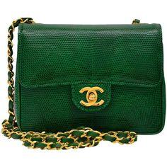 CHANEL Rare Vintage Emerald Green Lizard Mini Handbag Excellent (89.406.765 IDR) ❤ liked on Polyvore featuring bags, handbags, accessories, chanel, purses, vintage hand bags, green purse, man bag, lizard handbag and mini handbags