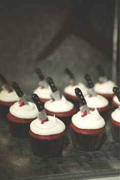 Twisted Cakes - http://www.amazon.co.uk/Twisted-Cakes-Deliciously-Evil-Designs/dp/0956438253/ref=sr_1_1?ie=UTF8=1352906767=8-1    Crime scene cupcakes for  #Halloween via @Gracie Posey