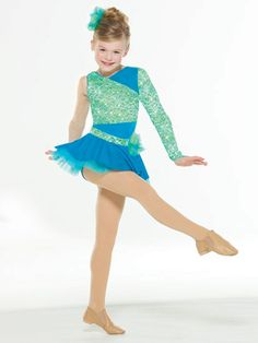 NEW! 2017 Collection Jazz & Tap Costumes: Spandex bodice with glitter lace overlay has matching sleeve with finger loop and stretch satin strap details on back. Attached skirt is organdy under spandex with attached waistband and flower detail. Includes headpiece, bobby pins, hanger and garment bag.