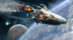 """This Is The Loading Screen Of Subnautica. In Here You'll See The Space Ship """"Aurora"""" Falling Down On To Planet 4546B After Suffering Catastrophic Hull Failure, When Mysterious Energy Pulse Shot I D..."""