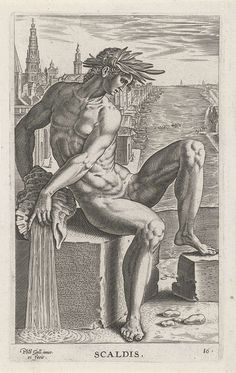 Riviergod Scaldis, Philips Galle, 1586