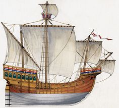Northern Caravel was a type of evolved British Round Ship, 3/1 wide (three widths for a length). It had to be around 35 meters for 12 meters wide at the waterline, with 3 decks, and of clinker construction (overlapping riveted planks), all in oak. Its rigging integrated a main sail, upper sail, bowsprit with civadier typical of late medieval Cogs and latin sail on its rear mast. Recent reconstruction of a discovery ship in Bristol sailed by John Cabot in 1497 from Bristol to North America.