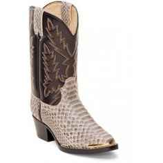 Durango Kids' Cowboy Boots Tan Snake PrintThis Kids Cowboy Boot from Durango features a Medium Round Toe w/ Toe Rand and a Cowboy Heel. The Tan Snake Print Cowboy Boot has great styling and wears great. Children like to get dressed up too and this exoctic print snake print will fill the bill.Tan Snake Print FootChocolate Glove Urethane TopMedium Round Toe w/ Toe RandC...