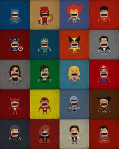 "Screaming Superheroes by Roberto Salvador, aka ""that design bastard"""