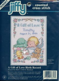 Dimensions Cross Stitch Kit A Gift of Love Birth Record 16657 5 in x 7 in New #SunsetJiffyDimensions #CrossStitch