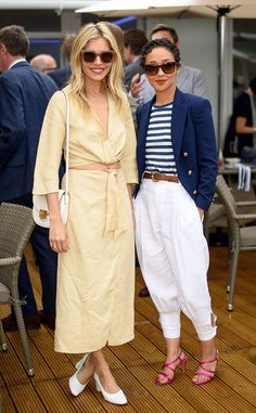 Sienna Miller & Ruth Negga from The Big Picture: Today's Hot Photos The leading ladies strike a pose while attending The Polo Ralph Lauren VIP Suite during Wimbledon in London. Hi Fashion, Hollywood Fashion, Best Celebrity Dresses, Celebrity Style, Street Chic, Street Style, Sienna Miller Style, Minimalist Fashion Women, Fashion Corner