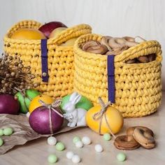 """120 Likes, 2 Comments - Anna Popovych (@knitknotkiev) on Instagram: """"Easter Day is coming! Don't miss the opportunity to order some baskets for the holiday to decorate…"""""""