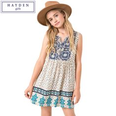 HAYDEN Retro Girls V Neck Vintage Print Dress Boho Chic Sleeveless Vest Sundress Kids Fashion Tunic Beach Dress Summer Clothes
