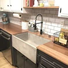 L x W Farmhouse Kitchen Sink Butcher Block Benchtops & Farmhouse Sink. Always aspired to discover ways to knit, although unsure where to begin? Farmhouse Sink Kitchen, Rustic Kitchen, Diy Kitchen, Kitchen Decor, Kitchen Shelves, Kitchen Ideas, Kitchen Inspiration, Kitchen Cabinets, Kitchen Designs