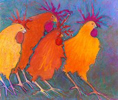 Chicken Art | Making a Break for It! | Colorful Funky Whimsical Chickens | GicleePrint | Perfect for your French Kitchen | home decor