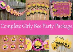 Girly Bee Complete Birthday Party Package, Bumble Bee Birthday Party, Mommy to Bee