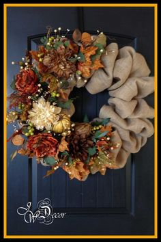 Fall Wreath, Burlap Wreath, Autumn Wreath, Burlap Wreath, Large Wreaths…