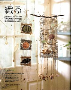Weaving with natural items embedded Weaving Textiles, Weaving Art, Tapestry Weaving, Loom Weaving, Fun Crafts To Do, Diy And Crafts, Arts And Crafts, Weaving Wall Hanging, Weaving Projects
