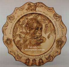 Original woodburning playful and fun made by WoodburnedCreations, $495.00