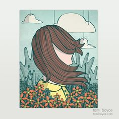 Girl with Flowers: This windswept girl stands under the clouds in the midst of her lovely Japanese anemones and stag-horn ferns. Girls With Flowers, Girl Standing, Doodles, My Arts, Collage, Clouds, Japanese, Drawings, Illustration