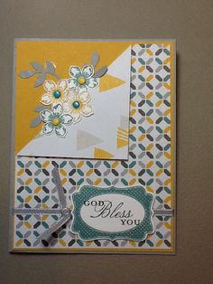 Inspired by a card from Frances Saldana Hum. Materials used: smoky slate, Hello Honey and Whisper White cardstock; Basic Gray, hello Honey and Lost Lagoon ink; Petite Petals, Four Frames and Trust God stamp sets; Smoky Slate Taffeta ribbon; Petal and Decorative Label punches; Moonlight Desginers Series Paper pack, all from Stampin' Up!