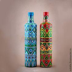 Декоративная посуда ручной работы. Ярмарка Мастеров - ручная работа. Купить Декоративные бутылки с мексиканским узором. Handmade. Бутылка, контуры