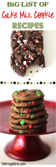 BIG List of Cake Mix Cookie Recipes! ~ you'll love this HUGE list of delicious and easy cookies! Awesome for all the kids classes Cake Mix Cookie Recipes, Cake Mix Cookies, Yummy Cookies, Yummy Treats, Dessert Recipes, Cookie Ideas, Cake Mixes, Cupcakes, Baking Recipes